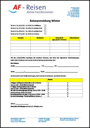Reiseanmeldung Winter 2020/2021 von AF-Reisen